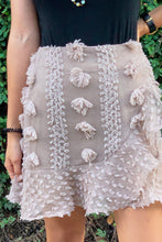 Load image into Gallery viewer, Lili Coffee Pompom Lace Mini Skirt