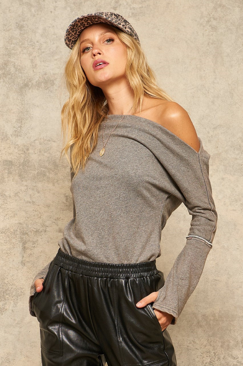Drew Charcoal Off the Shoulder Sweatshirt Bodysuit