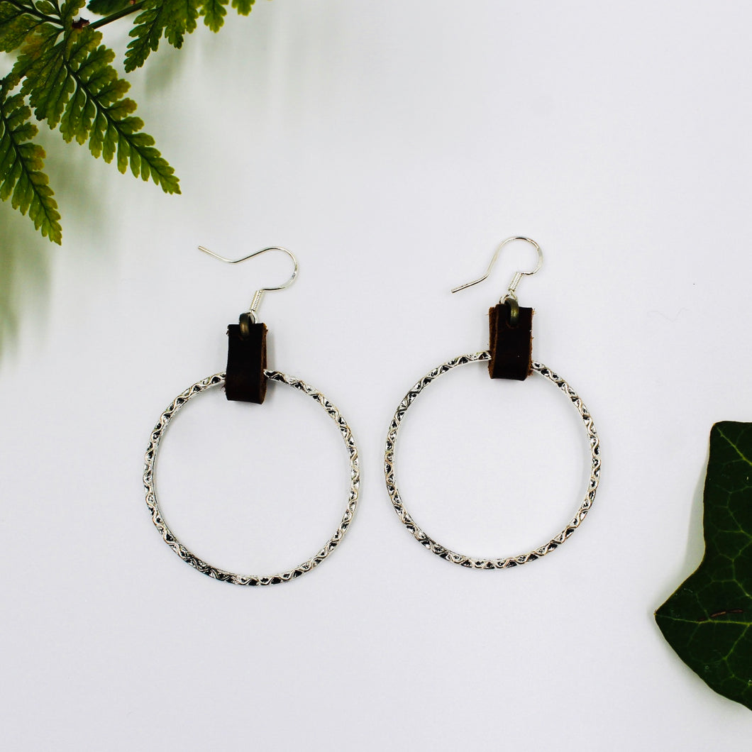 Cherrah Hammered Small Silver Hoops Suspended by Brown Luxe Leather