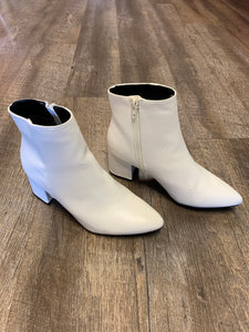Rapid Plain Pointy Toe Bootie - White