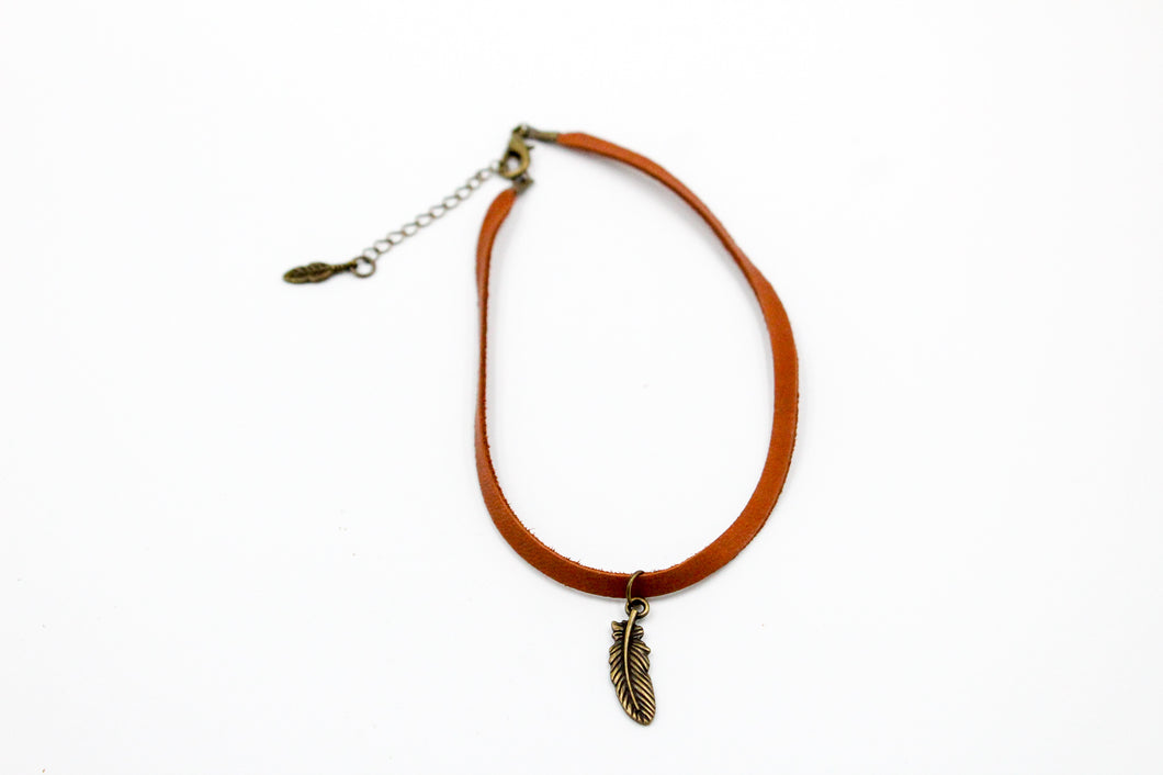 Leather Choker w/Feather Charm