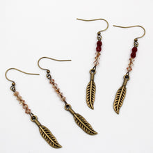 Load image into Gallery viewer, Becky's Gold Single Sided Feather w/ Czech  Beads