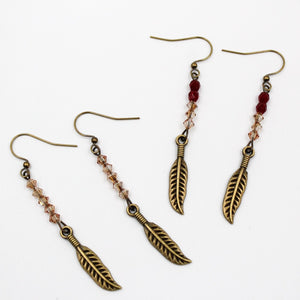 Becky's Gold Single Sided Feather w/ Czech  Beads
