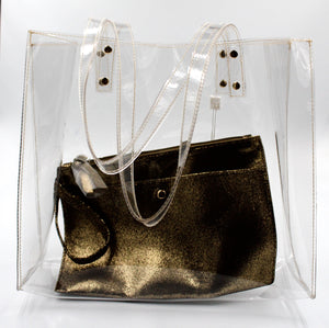 Arena Clear Tote w/ Gold Clutch