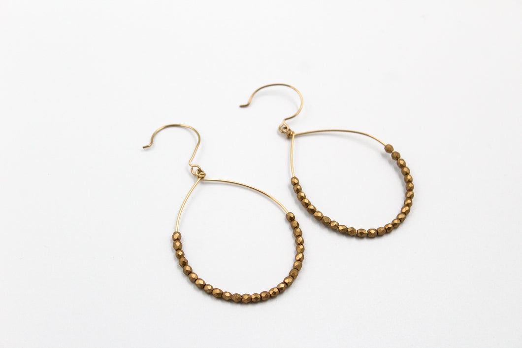 Gold Hoops with Gold Crystals