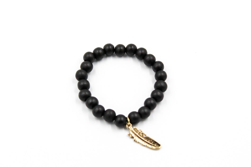 Black Wooden Bead w/ Feather Charm