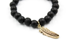 Load image into Gallery viewer, Black Wooden Bead w/ Feather Charm