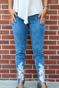 Denim Ankle Pant with Lace Up Front
