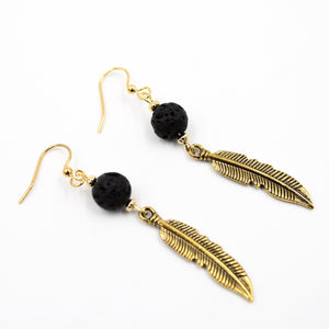 Becky's Feather Earrings w/Lava Stone