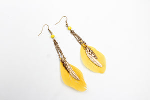 Yellow Feather Drop Earring w/ Metal Feather Charms