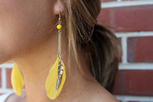 Load image into Gallery viewer, Yellow Feather Drop Earring w/ Metal Feather Charms