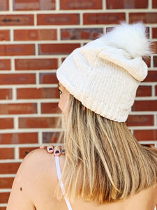 Chenille Hat with Fur Pom Pom