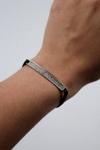 Becky's Leather Bracelet with Crystal Bar