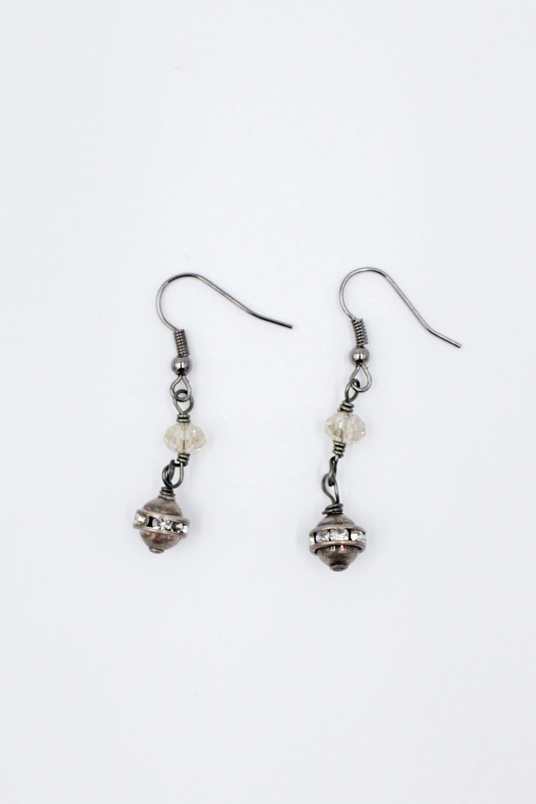 Silver Champagne Linked Crystals w/ Antique Balls Earrings