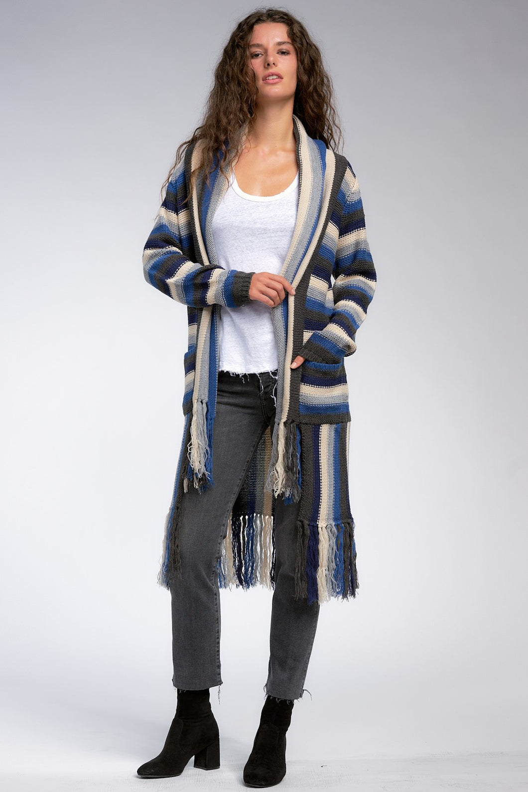 Meadow Stripe Cardigan with Fringe