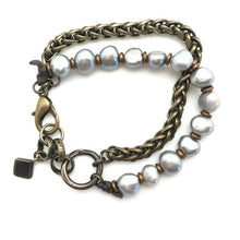 Load image into Gallery viewer, S & S Bronze & Pearl Double Strand Bracelet