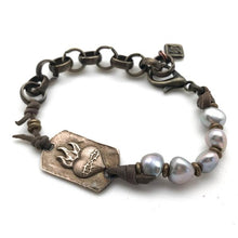 Load image into Gallery viewer, S & S Bronze & Pearl Heart Bracelet