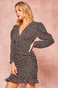 Sarah Black Leopard Print Dress