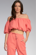 Load image into Gallery viewer, Capri Coral Off Shoulder Crop