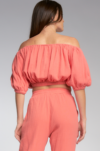 Capri Coral Off Shoulder Crop