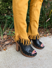 Load image into Gallery viewer, Maci Mustard Skinny w/ Frayed Ankle