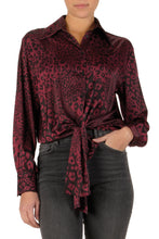 Load image into Gallery viewer, Sophia Leopard Print Burgandy Top