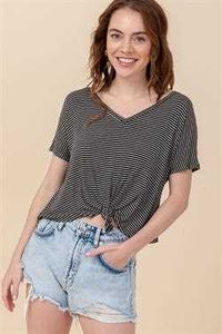 Lila Knotted Front Tee - Black & White Stripe