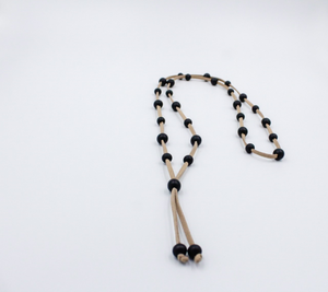 Tan Suede Necklace with Black Wooden Beads