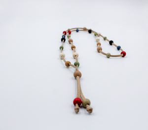 Tan Suede Necklace with Multi Color Wooden Beads