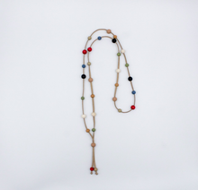 Load image into Gallery viewer, Tan Suede Necklace with Multi Color Wooden Beads