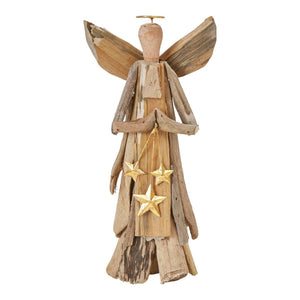 Driftwood Angel with Gold Stars