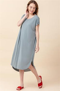 Mila Midi Dress-Blue Gray