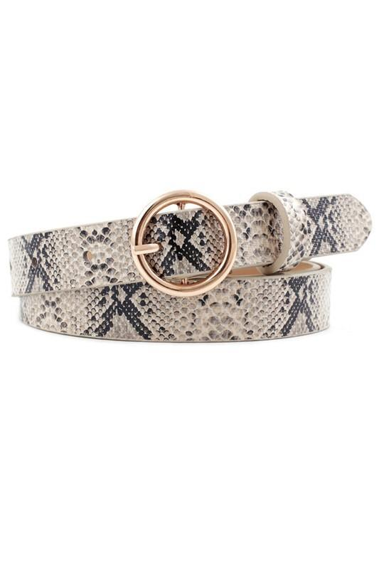 Snakeskin Patterned Trendy Ring Buckle Belt