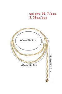 Trendy Simple Double Layered Waist Chain Gold Silver detail measurements