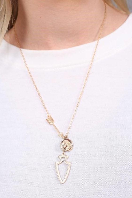 Alyssa Gold Chain Necklace with Arrow Charms
