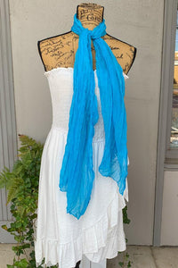 Crinkle Scarf Available in Blank and Aqua