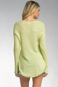 long-sleeve v-neck waffle top green thumbholes