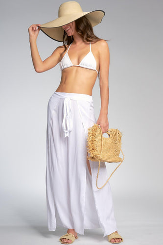 White Wrap Slit Pants