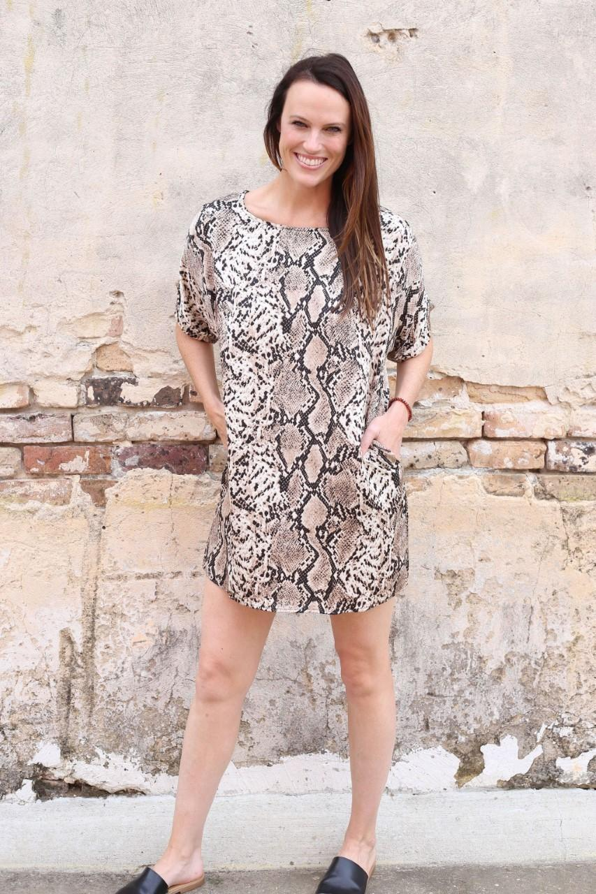 Cori Snakeskin Shift Dress