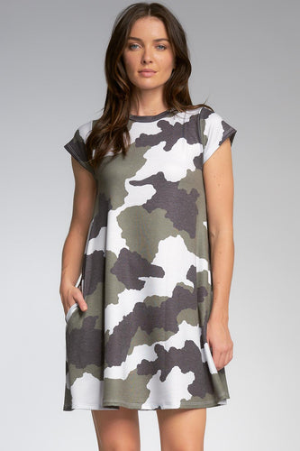 Camo Shift Dress in Olive and Black