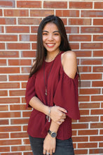 Load image into Gallery viewer, Shea Burgundy Cold Shoulder Top