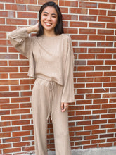 Load image into Gallery viewer, Elena Taupe Slouchy Ribbed Knit Lounge Set