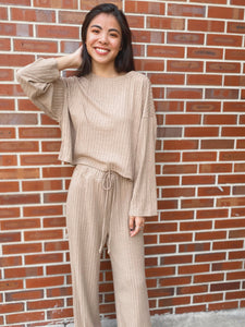 Elena Taupe Slouchy Ribbed Knit Lounge Set