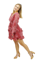 Load image into Gallery viewer, Catarina Red Floral w/Ruffled Skirt
