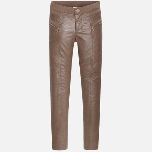 MAYORAL LEATHER LOOK JEGGINGS-MILK CHOCOLATE