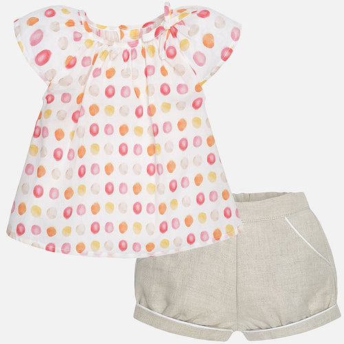 Mayoral Baby Girl Blouse with Short Sleeves + Shorts