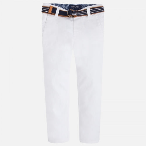 MAYORAL WHITE REGULAR FIT PANTS & BELT