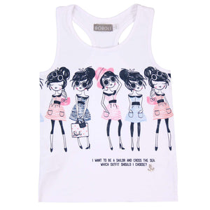 Boboli Girls White Printed Tank Top