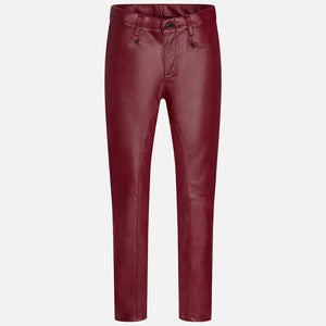 Mayoral Girl Leatherette Jeggings-Burgundy