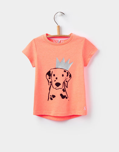 Joules Pixie Bright Orange Dalmation Printed T-Shirt